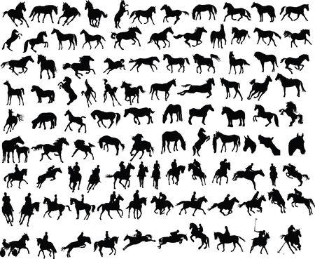 100 vectores de siluetas de caballos y jinetes