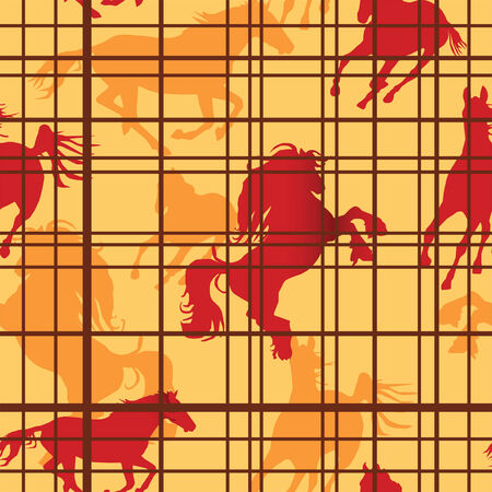 Seamless pattern with horses silhouettes and cells. Vector illustration
