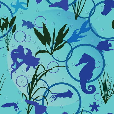 Seamless pattern with fish and sea animals