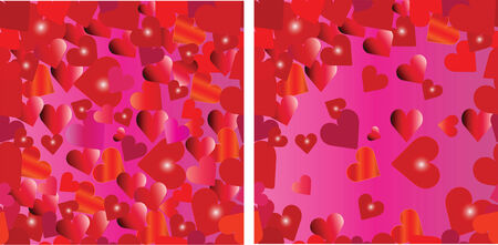 Two seamless patterns with hearts. Vector illustration