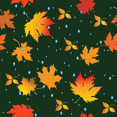 Seamless pattern with leaves and raindrops. Vector illustration Illustration