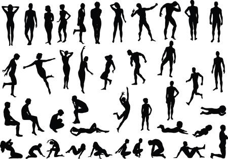 desnudo masculino: Colecci�n de cuerpo humano desnudo vector siluetas