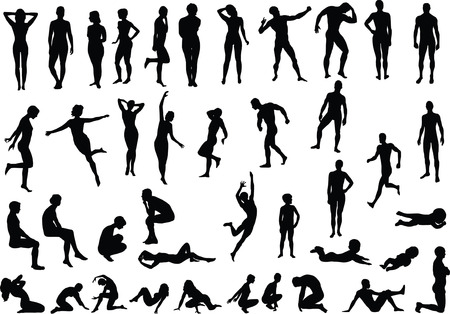 nude male: Collection of naked human body vector silhouettes