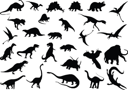 Vector silhouettes of dinosaurs and other prehistoric animals Ilustração