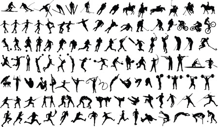 Set of vector silhouettes of people in sports Stock Vector - 4560432