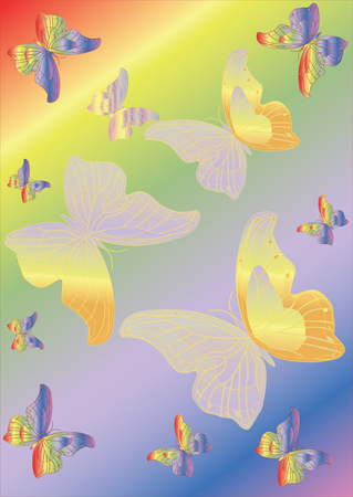 Colorful background with butterflies and space for text. Vector