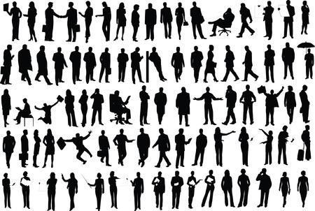 meisje silhouet: Vector silhouetten van ondernemers