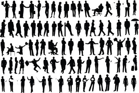 Vector silhouettes of businessmen Vector
