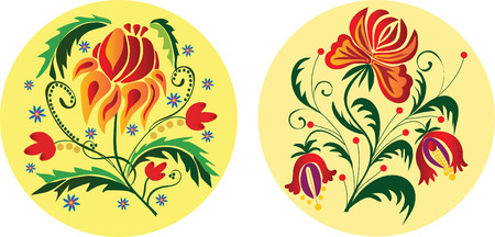 Two folk styled floral ornaments. Vector illustration Vector