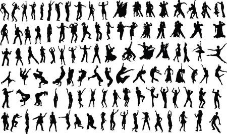 Lotes de siluetas de personas bailando. Vector