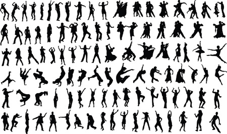 Lots of silhouettes of dancing people. Vector