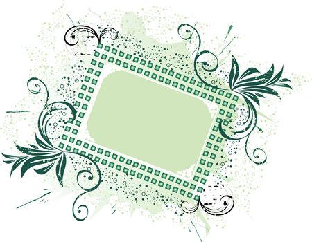 Dark green fantasy floral frame, vector illustration Vector