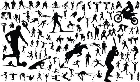 arching: Conjunto de vectores de siluetas de personas en el deporte