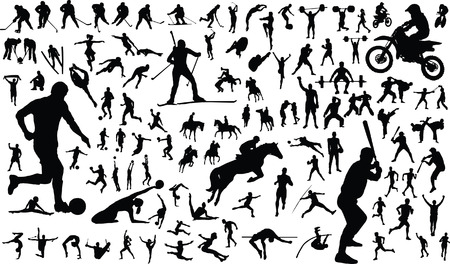 Set of vector silhouettes of people in sports Vector