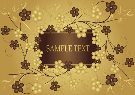 Golden and chocolate frame for text. Vector  Illustration