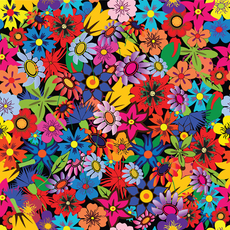 Seamless colorful floral background. Repeat many times Vector