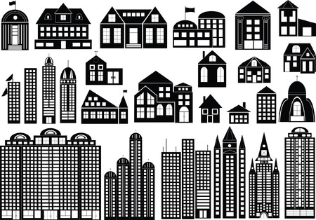 Set of black symbols of different buildings