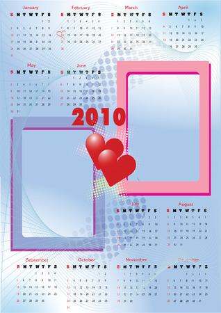 2010 calendar with 2 blank frames for lovers� photos. Starts Sunday