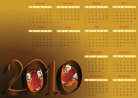 horizontal orientation: 2010 calendar with tigers. Horizontal orientation. Starts Sunday Illustration