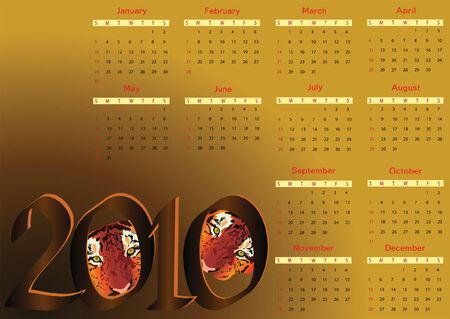2010 calendar with tigers. Horizontal orientation. Starts Sunday Vettoriali