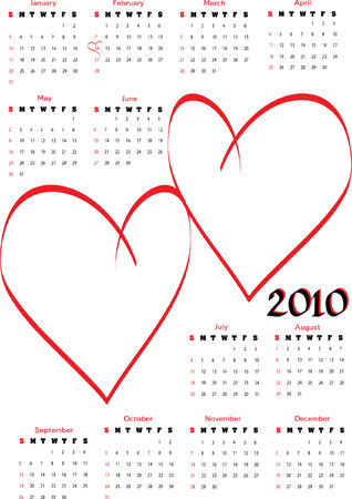 2010 calendar with blank hearts for lovers photos. Vertical orientation, starts Sunday