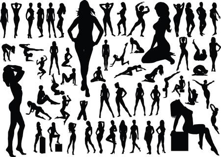 Collection of naked women silhouettes. Vector illustration  Ilustração