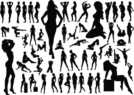 Collection of naked women silhouettes. Vector illustration  Illustration