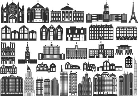 Set of black symbols of buildings, including famous