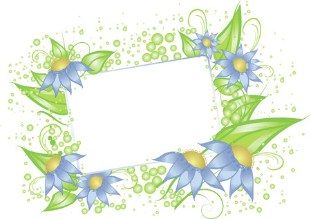 A white card for text surrounded with the blue flowers and leaves