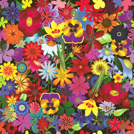 Seamless colorful floral background. Repeat many times