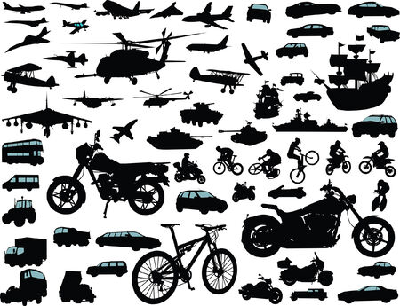 Set of transportation silhouettes: cars, planes, bikes, ships
