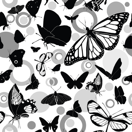 Seamless black-and-white pattern with butterflies