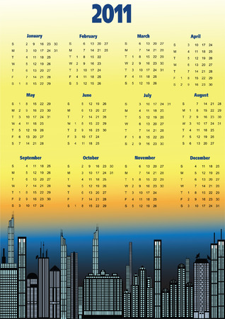 Calendar 2011, starts Sunday, urban theme in background