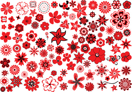 simple flower: 100 vector flowers � red-and-black design elements