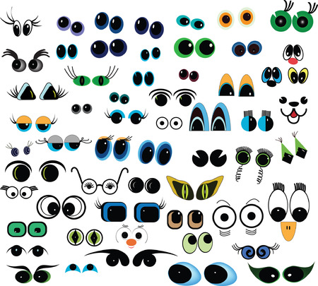 cartoon face: Set of cartoon eyes over white background