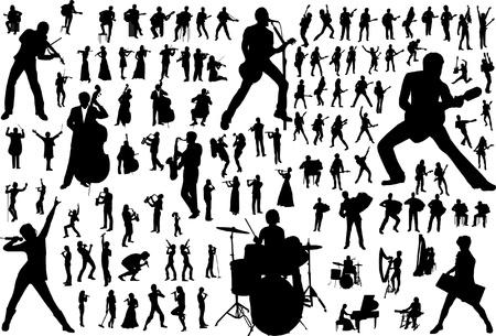 chef d orchestre: Silhouettes noires de musiciens. Illustration vectorielle