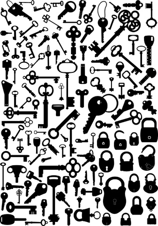 Collection of antique and modern keys and padlocks Illustration