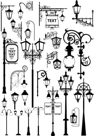 lampposts: Ilustraci�n vectorial de faroles de calles retro y modernos