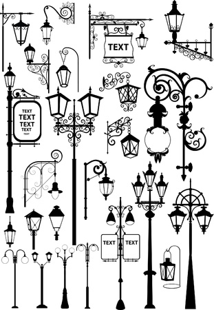 lamp silhouette: Vector illustration of retro and modern street lanterns