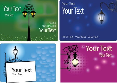 streetlight: 4 colored backgrounds with lanterns and space for the text Illustration