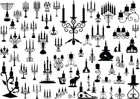 chandelier isolated: Vector collection of isolated candlesticks  Illustration