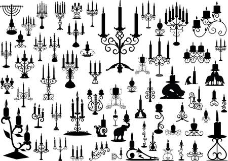 Vector verzameling van geïsoleerde kandelaars Vector Illustratie