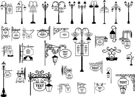 uithangbord: illustratie van retro en modern straatnaamborden en lantaarns