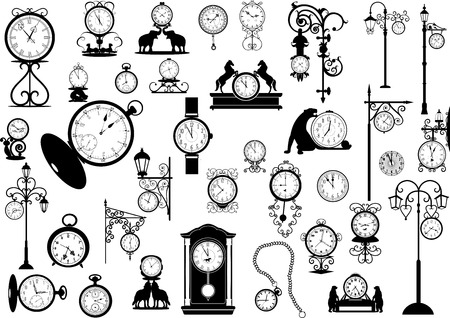Collection of vector clocks and watches, black and white