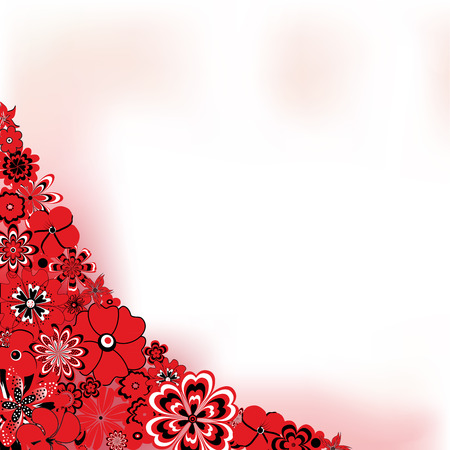 Abstract background with red flowers and space for text