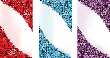 Abstract flowers backgrounds in 3 colours  red, blue and lilac  and space for the text