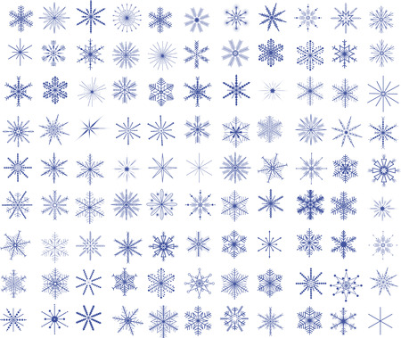 Collection of 99 vector snowflakes Illustration