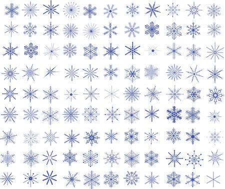 Collection of 99 vector snowflakes Ilustração