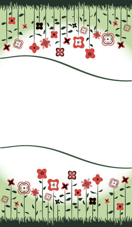 Abstract floral background with red flowers, green grass and the space for text