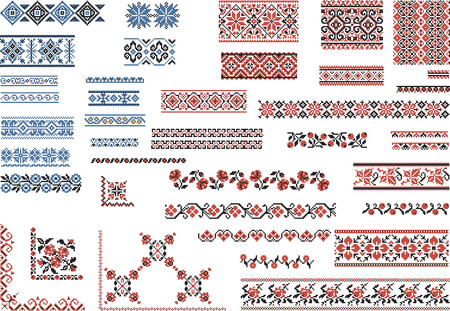 embroidery on fabric: Set of Patterns for Embroidery Stitch